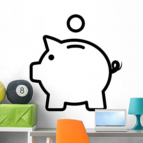 Wallmonkeys Piggy Bank Piggybank with Wall Decal Peel and Stick Vinyl Graphic (36 in H x 36 in W) WM369163