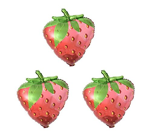 Yalulu 3Pcs Candy Color Fruit Balloons Birthday Foil Balloon Helium Mylar Balloons for Party Birthday Wedding Supply (Strawberry)