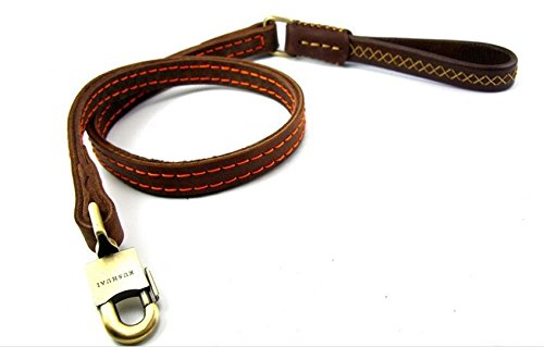 Dogs Kingdom Genuine Leather Dog Training Leash Double Widened Thickening Dog Real Leather Leashes Large Metal Hook For Medium and Large Dogs Brown One Size by Dogs Kingdom