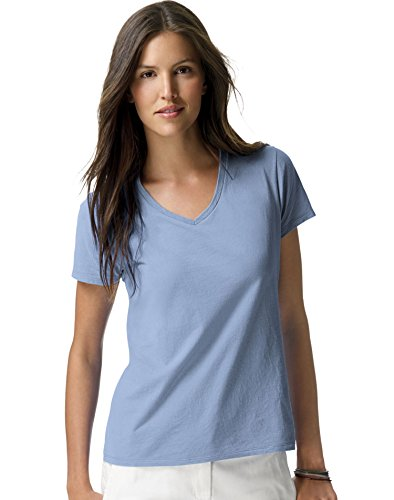 Hanes S04V Ladies 4.5 oz 100% Ringspun Cotton nano-T V-Neck T-Shirt Light Blue 3XL