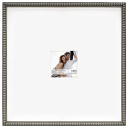 MCS 20x20 Inch Signature Beaded Frame with 5x5 Inch Mat Opening, Pewter ()