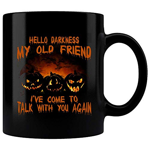 Hello Darkness My Old Friend I've Come To Talk With You Again Mug, Simon and Garfunkel, Gift Idea, Music Lover Gift, Gift for Him, Gift for Her, Folk Music Mug, Music and Coffee, Halloween Mug ()