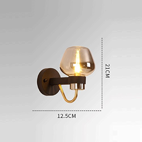 Waineg Modern Luxury Glass Wall Lamp Black Wrought Iron Chassis Creative Living Room Bedroom Aisle Plated Glass Wall Lamp Designer Lamps E27 Bar Ktv Wall Lights 110V 220V by Waineg (Image #4)