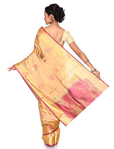 Mandakini — Indian Women's Kanchipuram - Handloom - Pure Silk Saree (Off-White) by Mandakini (Image #3)