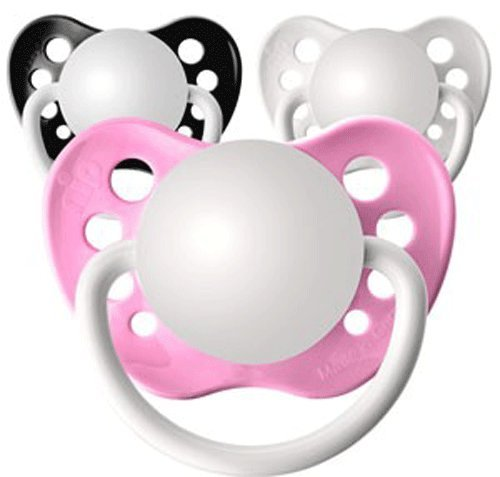 3 Orthodontic Silicone Glitter Girls Personalized Pacifiers Princess Pack 3 Mo+ (Rocker Chick) - Personalized Infant Rocker