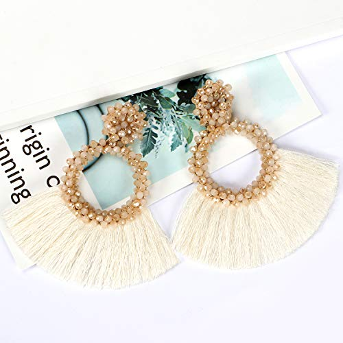 Bascolor 1 Pair Beaded Tassel Earrings for Women Hoop Fringe Boho Lightweight Statement Drop Dangle Earrings for Lady Girls Jewelry, Cream ()
