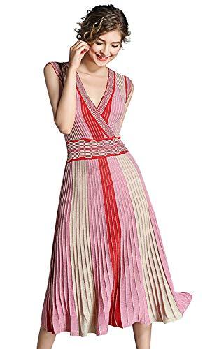 Taglie Longuette Da A Fashion V Comode Rosa Scollo Spiaggia Casual Righe Abiti Abito Senza Maniche Hx Elasticizzato Donna Estivo Con PkOXiuZT