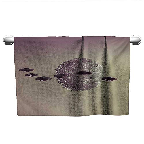 (alisoso Galaxy,Wholesale Towels Small Planet Under UFO Death Star Fantastic Fictional Outer Space Themed Pattern Absorbent and Super Soft Towels Brown Gray W 35