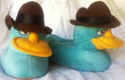 [Disney Phineas and Ferb Agent P Perry the Platypus Plush Soft Warm Slippers, Great Halloween Costume Accessory Kids Shoe Size 9-10] (Ferb Halloween Costumes)