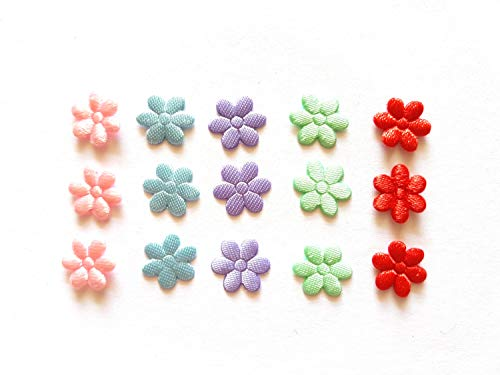100 Pcs Small satin Flower Padded Appliques Mix Color Size 10 Mm