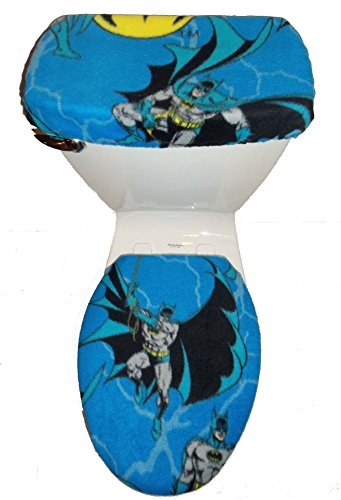 Batman Blue Fleece Fabric Toilet Seat Cover Set Bathroom Accessories by Rock'N Deals Seller