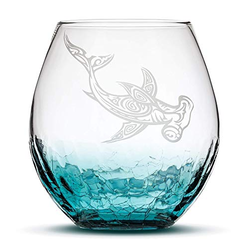 Crackle Teal Stemless Wine Glass, Tribal Hammerhead Shark, Hand Etched Design Sand Carved by Integrity Bottles