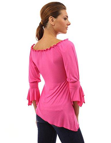 chemise Fonc asymetrique mi avec manche longue Femme Rose PattyBoutik FaxqwpSE