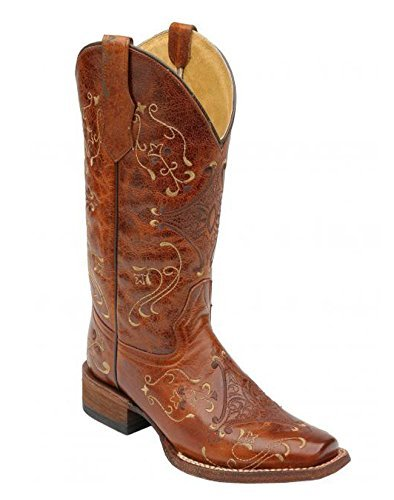 Corral Womens Brown Crackle/Bone Embroidery Boots