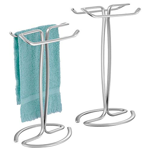 (mDesign Decorative Metal Fingertip Towel Holder Stand for Bathroom Vanity Countertops to Display and Store Small Guest Towels or Washcloths - 2-Sided, 13.8