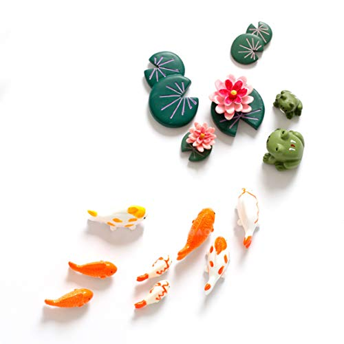 (CoCoMe Set of 14 Chinese Style Funny Frog Fish Playing in Lotus Pond Fridge Refrigerator Magnets Set Message Board Leave Message Magnetic Sticker Early Education Good Gift for Kid Friends)