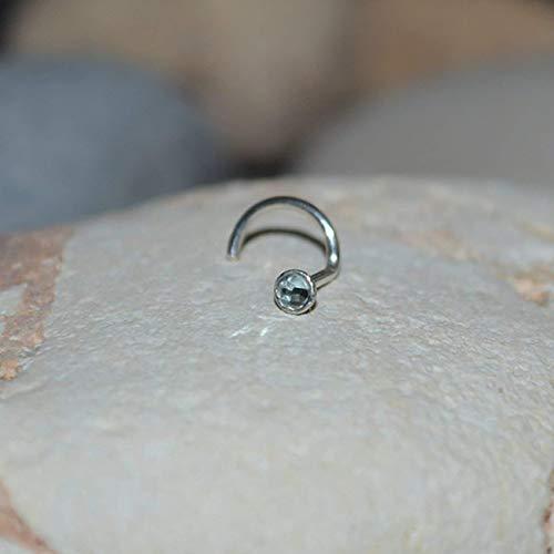 2mm Swiss Blue Topaz NOSE STUD EARRING // Silver Nose Hoop - Tragus Stud Earring - Silver Nose Ring 18g - Cartilage Hoop - Helix - Earrings Topaz Hoop Silver Blue