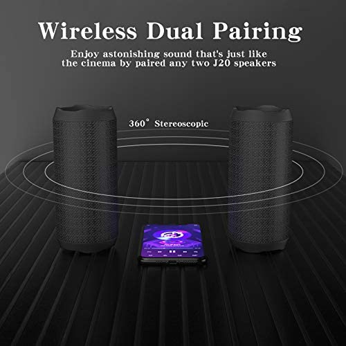 WSHDZ Portable 20w Waterproof Wireless Stereo Bluetooth Speakers J20 with Enhanced Bass Sound,Party Light,IPX67,HD Sound,Long Battery Life Support Hands-Free Call for Outdoor Indoor Activities-Black 41Hsrjb9kSL