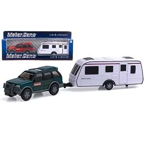 Peterkin Motor Zone - Coche con caravana remolque en miniatura (escala 1:32)