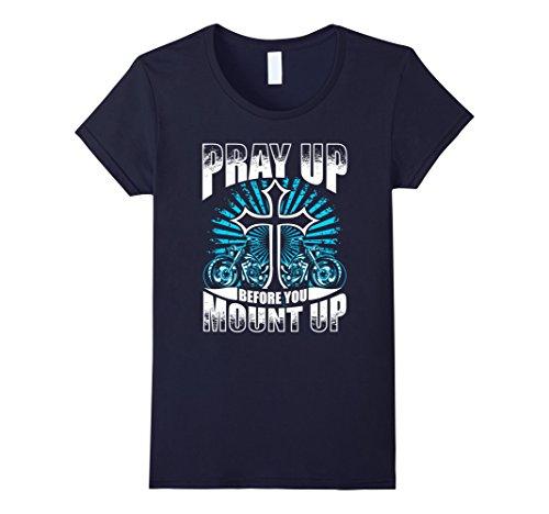 Womens Motorcycle Shirt Biker Pray Up Before You Mount Up Jesus Large Navy