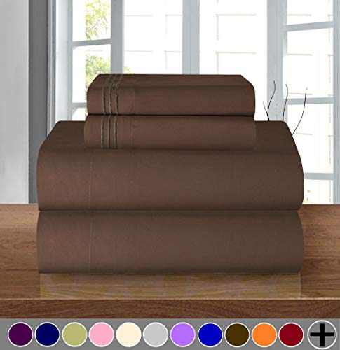 Elegant Comfort Luxury Soft 1500 Thread Count Egyptian 4-Piece Premium Hotel Quality Wrinkle and Fade Resistant Coziest Bedding Set, Easy All Around Elastic Fitted Sheet, Deep Pocket up to 16inch, Queen, Chocolate Brown