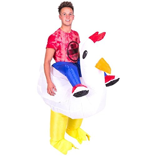 Man Riding Chicken Costumes (Cock Costume Costume For Adult Halloween Cosplay Inflatable Chicken Hen Stag)