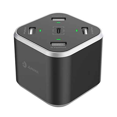 Price comparison product image USB Charging Station,Anmii DC01 5-port(1 Type-C Port) Desktop Charger with Smart IC Technology,Portable USB Charger Hub for iPhone X 8/7/6 Plus SE/5S/4S,iPad, iPod, Samsung, Android Phone