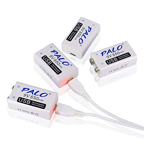 PALO 4 Packs 9v 650mAh Battery Rechargeable Li-ion with 2 in 1 USB Cable for Keyboard Microphone Smoke Alarm ()
