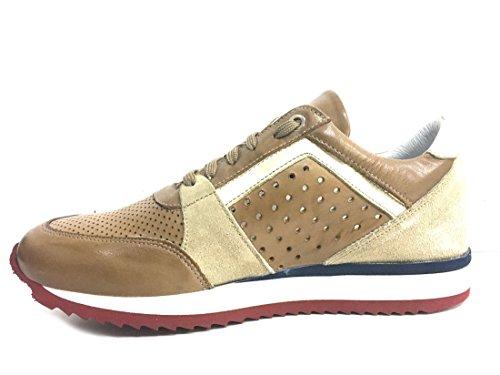 ... Exton 558 Mostarda Scarpa Uomo Sneaker Running Pelle Made in Italy Pelle  ...