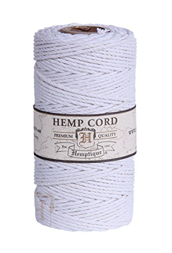 - White 2mm Polished Hemp Twine Hemptique Cord Macrame Bracelet Thread Artisan String 48lbs (205ft Spool)