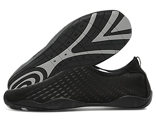 Demetry Unisex Quick-Dry Wasserschuhe Leichte Aqua Socken zum Schwimmen, Wandern, Yoga, Strand, Wasserpark 2-alle Schwarz