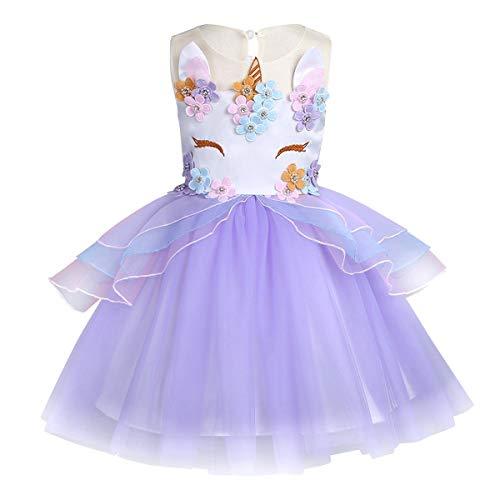 LEHNO Pretty Girls Unicorn Costumes Party Dress Kids Birthday Dress Princess Pageant Wedding Long Dresses (Purple, 8-9Y-140cm) ()