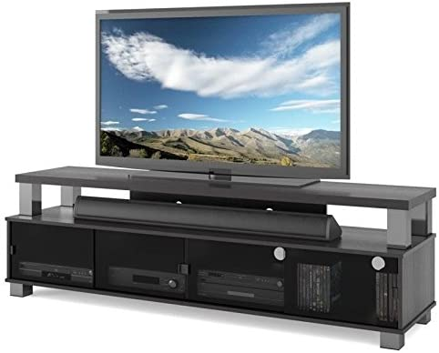 Amazon Com Bowery Hill 75 Tv Entertainment Stand For Tv S Up To 80 In Ravenwood Black Furniture Decor