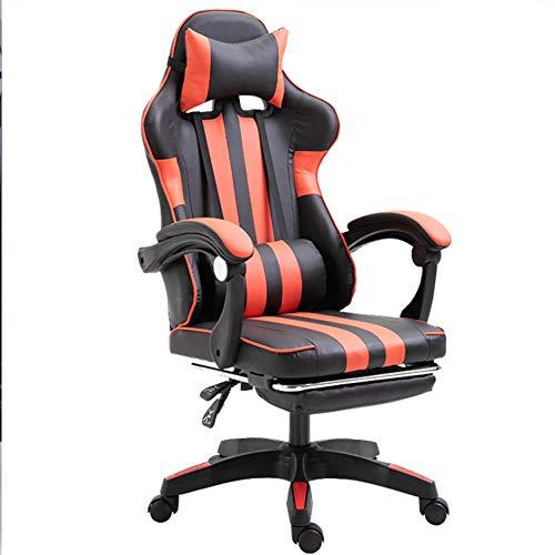 Ficmax Silla ergonomica para juegos Silla para computadora con masaje de soporte lumbar, sillas de juego para E-sports para jugador, silla de oficina con reposapies y para reposacabezas (negro),Rojo