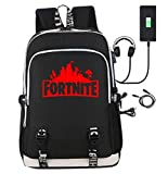 NPR Fortnite Backpack with USB Charging Port, Laptop Backpack School Bags for Boys Girls, Lightweight Multi-Functional Water-Resistant Casual Trekking Rucksack Sports Daypack (red)
