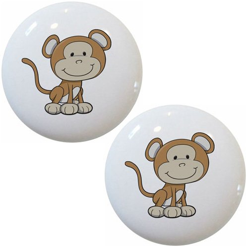 Set of 2 Baby Monkey Big Head Ceramic Cabinet Drawer Pull Knobs