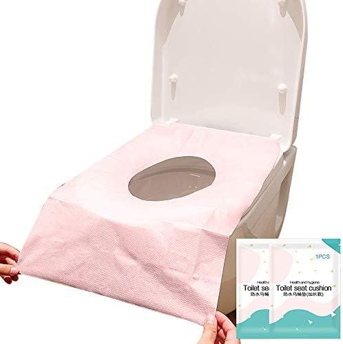 10個の使い捨てトイレパッド紙旅行ポータブルトイレパッド紙肥厚便座パッド ピンク