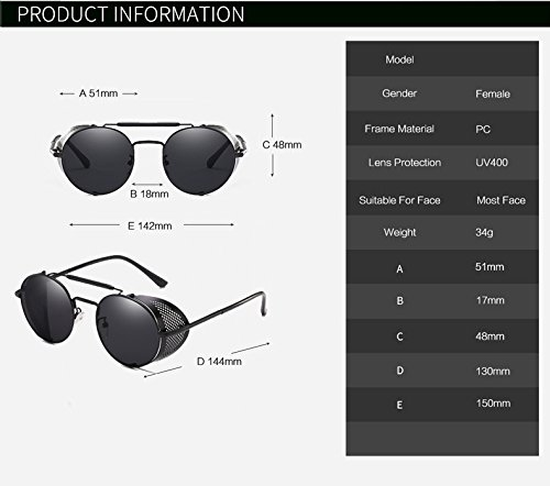 Zygeo Miroir Gafas Lunettes C8 Steampunk Miroir Vintage cool 9234 Personnalit¨¦ Punk ROUND Femmes th¨¦ or C4 lunettes soleil de Hommes Lunettes Argent r1rHqOn6