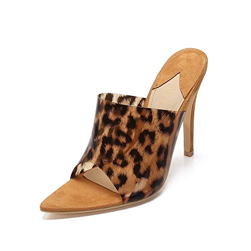 MACKIN J 294-29 Women's Lucite Pointy Open Toe Slip on Mule High Heel Sandals (8, Leopard)