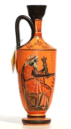 Ancient Greek Pot - Ancient Greek Ceramic Vase Pot Vessel lekythos Goddess Athena God Zeus 10.2΄΄