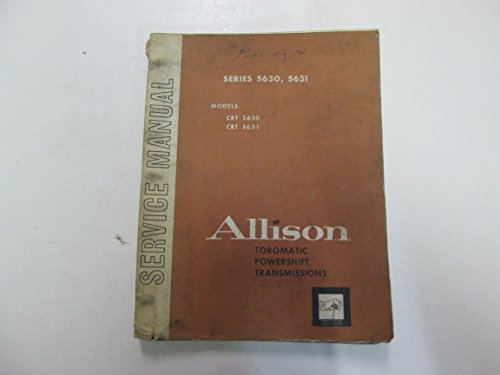 1968 Allison Series 5630 5631 Models CRT Torqmatic Service Manual WATER ()