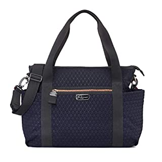 Cara Ultra Lite Navy Scuba Diaper Bag by Babymel | Large Capacity, Water Resistant, Modern Style, Multi-Functional and Durable Baby Tote with Changing Pad and Integrated Stroller Straps
