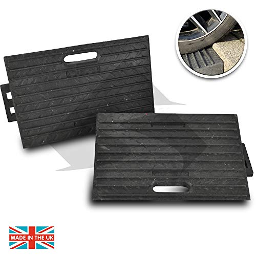 Street Solutions UK Rubber Kerb Ramps   Double Lightweight Mobility Threshold Ramps for Wheelchairs, Cars Vehicles, Caravan, Scooter Wheels, Skateboard, Motorcycle, Disabled Chair & Dog   Set of 2