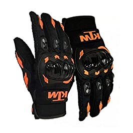 SKycart Unisex Rubber KTM Bike Riders Gloves (Orange and Black, Medium)