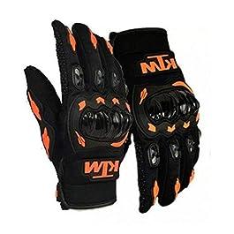 SKycart Unisex Rubber KTM Bike Riders Gloves (Orange and Black, Medium)