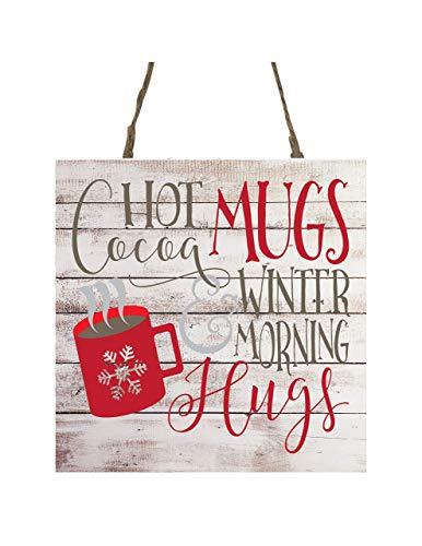 Hot Cocoa Mugs and Winter Morning Hugs Printed Handmade Wood Christmas Ornament Small Sign