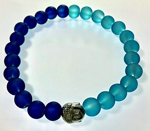 - Unique Beautiful Two Tone Blue Real Glass Stretch Bracelet With a Hematite Buddha