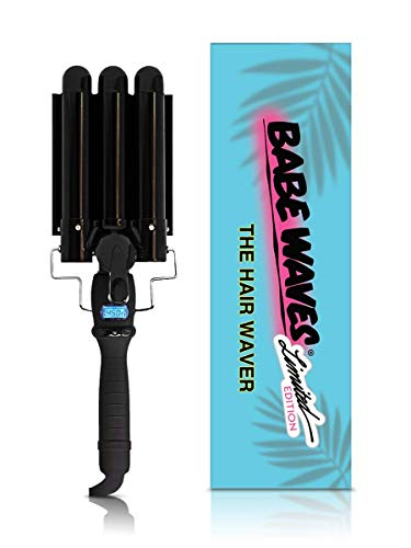 Babe Waves Limited Edition Hair Curling Wand | Triple Barrel Waving Iron | Trademark Beauty Dual Voltage Hair Waver with 28mm Barrels