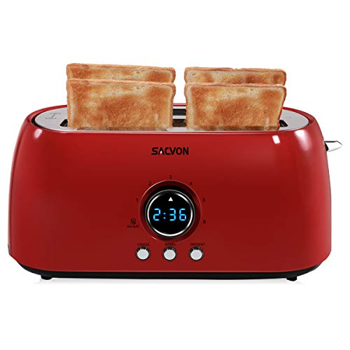 Toaster 4 Slice Long Slot, SACVON Stainless Steel Retro Toasters with Big Timer, Removable Crumbs Tray, Red