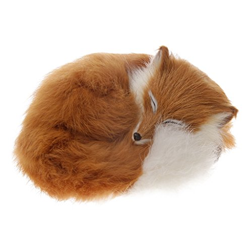 Dovewill Cute Realistic Sleeping Fox Stimulation Animal Interior Ornament Kids Children Home Decor Gift Yellow